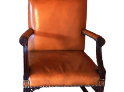 Antique Brown Leather Chair, Gainsborough-Style