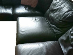 Black Leather Corner Couch, Good Condition