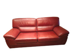 Red Vintage Leather Sofa Suite, 2-Seater And Armchair