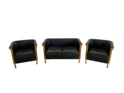 2 Armchairs, 2-seater, Black Leather, Launch Style, MOROSO