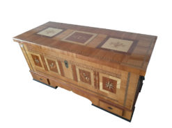 Antique Chest With Inlays, Made Of Solid Wood