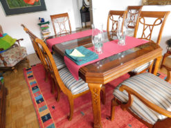 Dining Room Set: Large Wood Table With 8 Striped Chairs