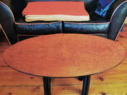 Oval Designer Sidetable, Made Of Solid Mandrona Wood