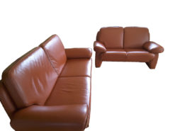 Brown Leather Sofa Suite: 2-Seater and 3-Seater