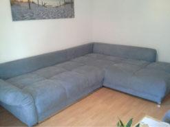 Large Light Blue Upholstered Corner Couch, 2019