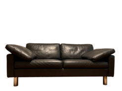 Black Leather Conseta Couch, 2-Seater, Made By COR
