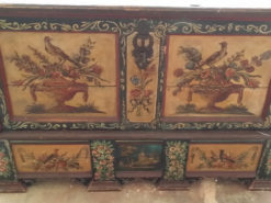 Old Painted Chest, Country Style, Made Of Solid Wood