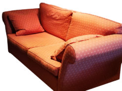 Two English 2-Seater-Sofa, Red, Pattern, With Pillows