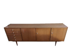 Wide Lowboard, Drawers and Doors, Solid Wood
