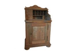 Vintage Secretary, Midcentury-Design, Solid Wood, Floral Carvings