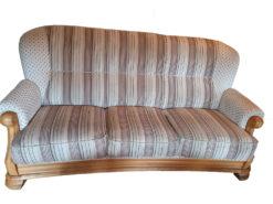 Vintage Sofa Suite, Striped Pattern, Solid Wood Frame