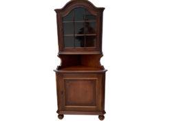 Vintage Corner Display Cabinet, Dark Solid Wood