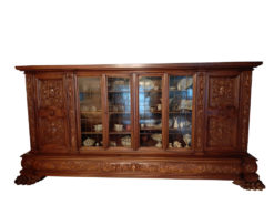 Large Antique Display Cabinet In Baroque Design, Solid Wood