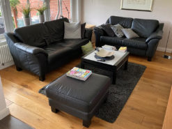 Black Leather Sofa Suite, Perfect for the Living Room, Vintage