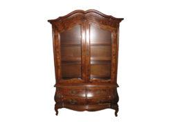 Antqiue Display Cabinet, Dark Solid Wood