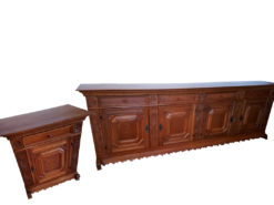 Sideboard, 2 Pieces, Made Of Solid Wood, Vintage