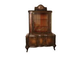Antique Display Vitrine, Dark Solid Wood, Floral Carvings