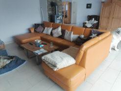 Designer Corner Couch, Brown, 5-7 People