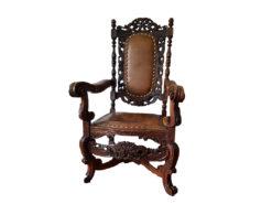 Antique Armchair, Gründerzeit, Carved Wood Pattern