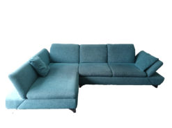 Blue/Turquoise Checkered Sofa For 2 People With Ottoman