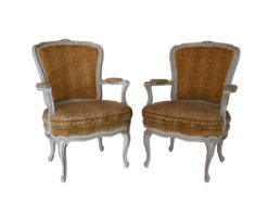 2 Armchairs In Gold Brocade Colors, Antique