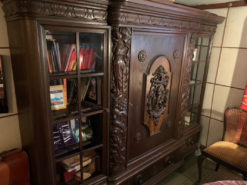 Antique Bookcase, Made Of Dark Solid Wood