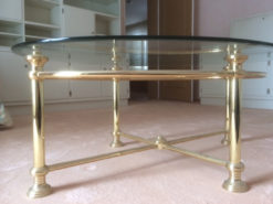 Oval Glass Coffee Table, Vintage, Gold Coloured
