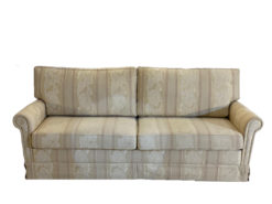 White Stiped 3-Seater Sofa, Vintage, Floral Pattern