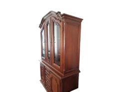 Vintage Display Cabinet, Dark Solid Wood