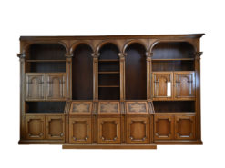 Brown Wall Unit, Made Of Solid Wood, Vintage