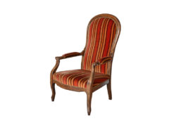 Antique Striped Upholstered Armchair, Solid Wood