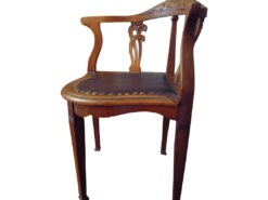 Antique Leather-Covered Chair, Made Of Solid Wood