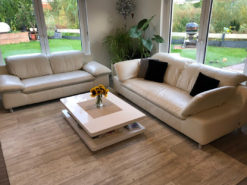 White Real Leather Seating Group (2-Seater And 3-Seater Sofa)
