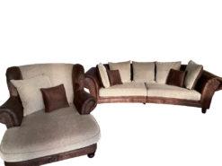 Brown Sofa Set (3-Seater Sofa And Loveseat), Vintage