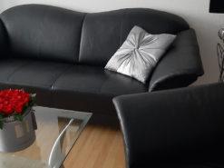 Black Leather 3-Seater Designer Sofa