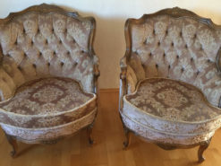 2 Antique Upholstered Armchairs, Floral Pattern