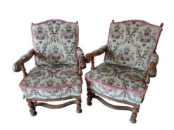 Vintage Upholstered Armchairs and Sofa, Floral Pattern