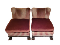 2 Antqiue Upholstered Armchairs With Striped Pattern