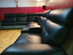 Black Leather Sofa,Eelectrical Relax Functions, USB Port