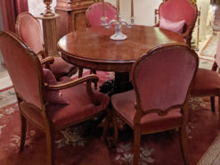 Dining Room Set: Round Wood Table and 6 Chairs