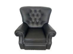 3-Seater Leather Sofa, Armchair, Black