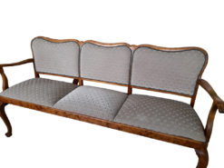 Antique Upholstered Bench, Gray, Solid Wood
