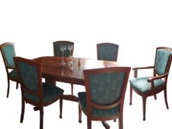 Extendable Dining Table, 6 Upholstered Chairs