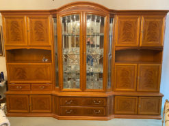 Large Wall Unit With Showcase, Solid Wood, Vintage