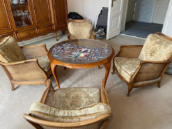 Dining Room Set Chippendale, Round Table, 4 Armchairs