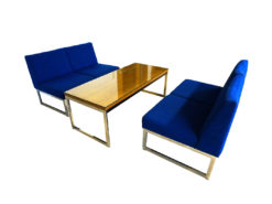 2 Blue Sofas With Coffee Table