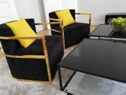 EICHHOLTZ Emilio Armchair, Gold & Velvet Fabric