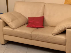 Complete Sofa Set, Real Leather, Cream-Colored