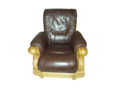 Armchair, Real Leather & Solid Wood