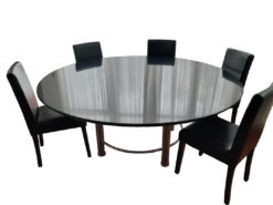 Black Round Granite Dining Table With 6 Chairs
